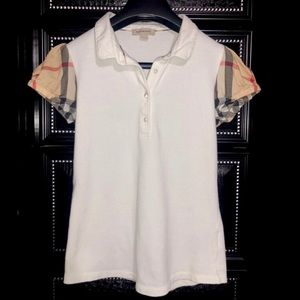 BURBERRY Check Detail Sleeves Polo Shirt